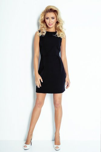 A classic dress with pleats at the waist - Black 103-3