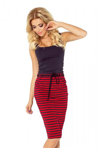 Skirt with pockets and drawstring - striped red-black 127-1
