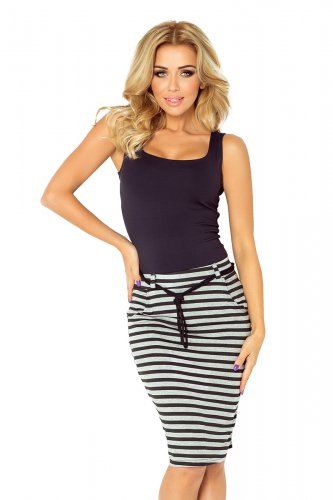 Skirt with pockets and drawstring - striped gray-black 127-2
