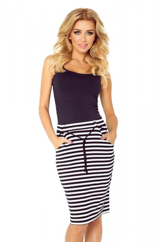 Skirt with pockets and drawstring - striped white-black 127-3