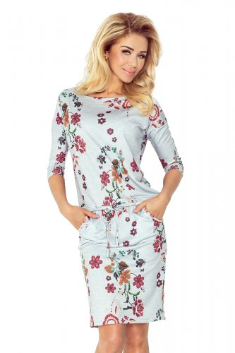 Sporty dress - Gray + embroidered flowers 13-55