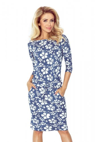 Sporty dress - viscose - BLUE jeans - flowers 13-62