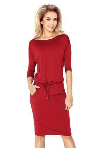 13-66 Sporty dress - Dark red color