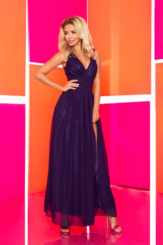 166-1 MAXI chiffon dress - navy blue