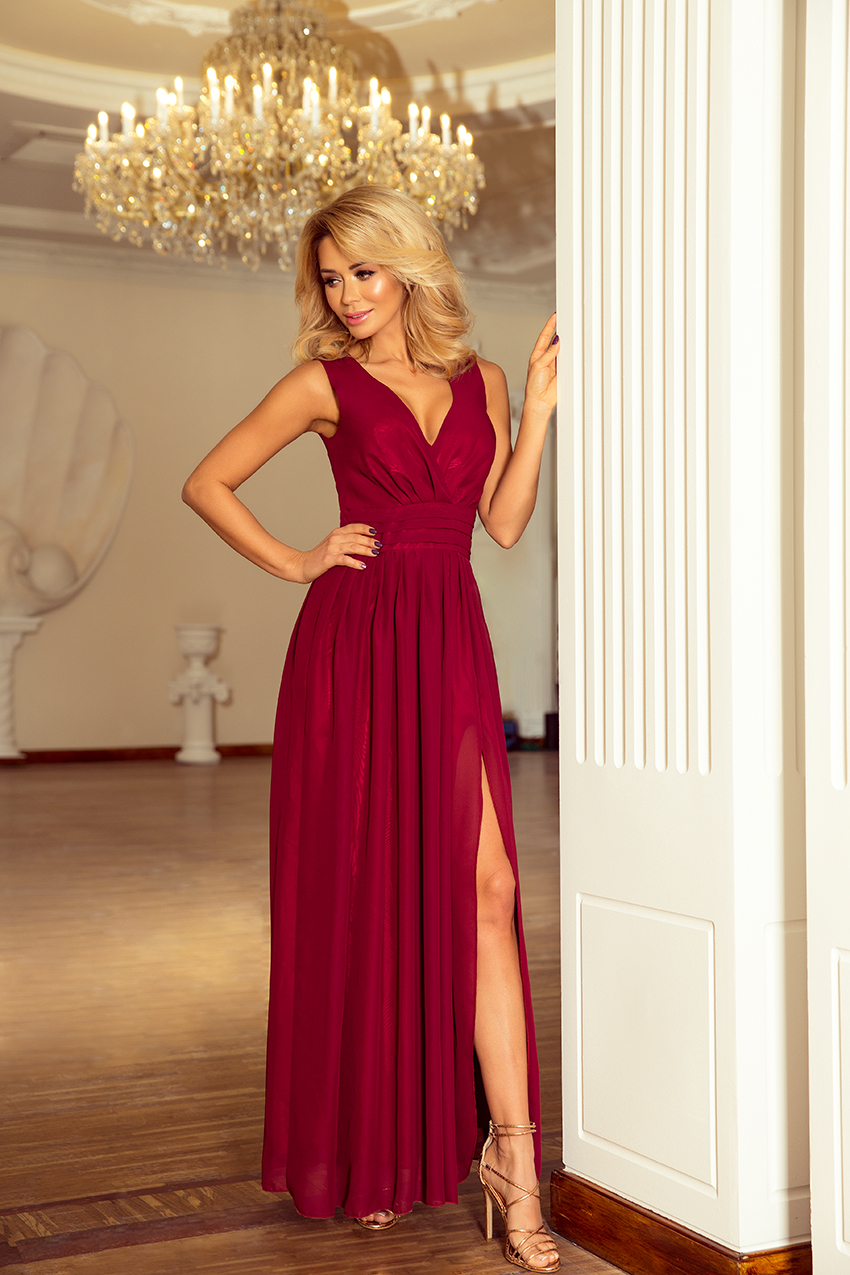 166-3 MAXI chiffon dress - burgundy color