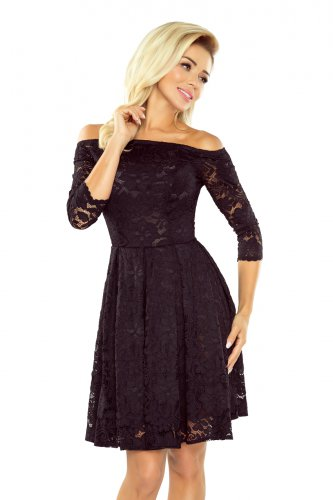 168-1 Dress with bare shoulders - black lace