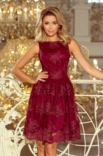 173-2 Exclusive dress - Burgundy color