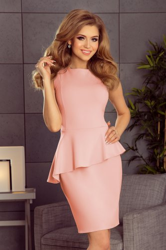 178-4 Asymmetrical dress with frill - light pink