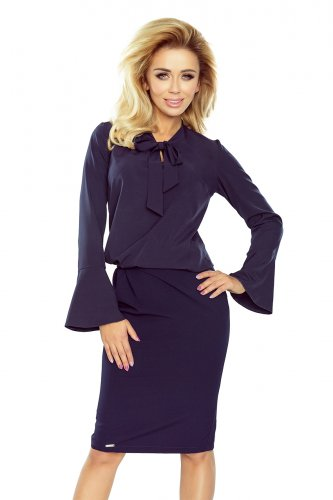 181-3 Blouse with flared sleeve - navy blue