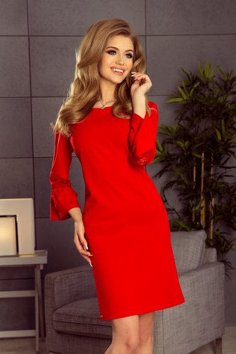 190-3 MARGARET dress with lace on the sleeves - red