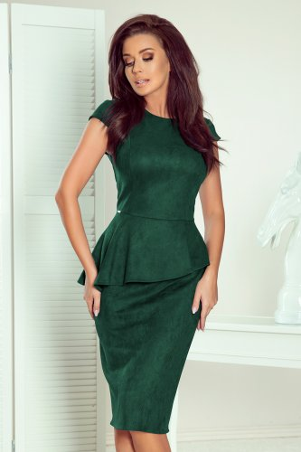 192-10 Elegant midi dress with frill - green