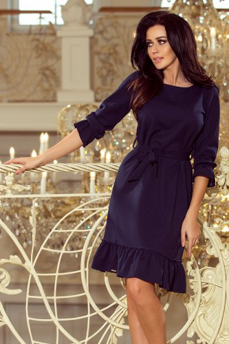 193-3 MAYA Dress with flounces and belt - navy blue