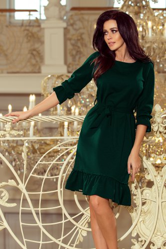 193-9 MAYA Dress with flounces and belt - dark green