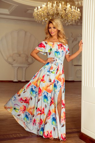 194-1 Long dress with frill - colorful painted flowers