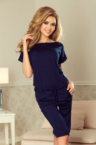 196-1 Sports dress with short sleeves and a pocket - dark blue