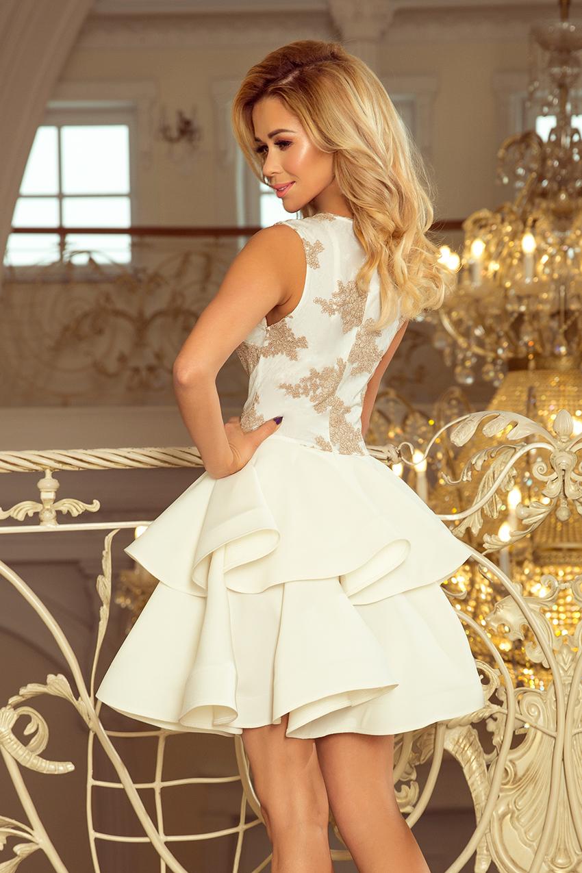 497f651a5a 200-1 CHARLOTTE - Exclusive dress with lace neckline - gold   beige + ecru