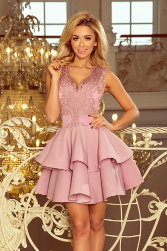 200-10 CHARLOTTE - Exclusive dress with lace neckline - lila