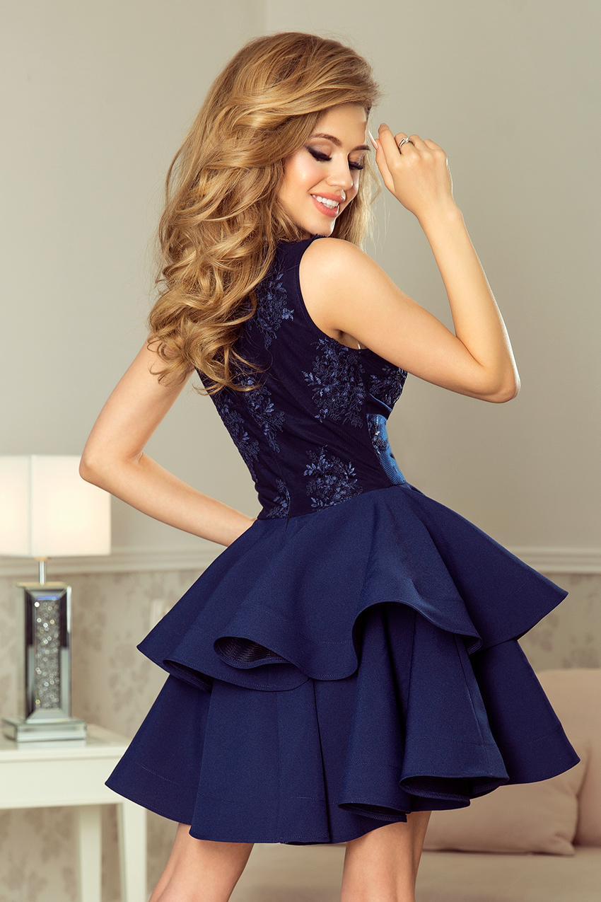 be54c4ca0d 200-2 CHARLOTTE - Exclusive dress with lace neckline - NAVY BLUE ...