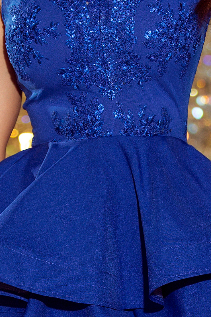 200-7 CHARLOTTE - Exclusive dress with lace neckline - ROYAL BLUE