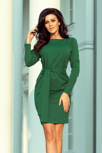 209-2 Dress with a wide tied belt - dark green
