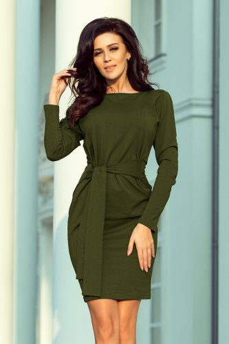 209-5 Dress with a wide tied belt - KHAKI