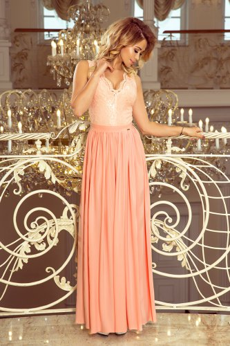 211-4 LEA long dress with lace neckline - peach