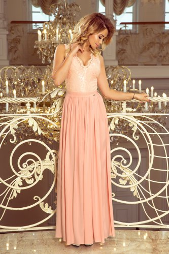 211-5 LEA long dress with lace neckline - light pink