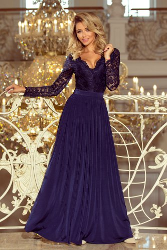214-1 MADLEN long dress with lace neckline and long sleeves - dark blue