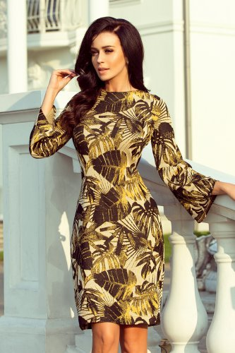 221-2 Dress with flared sleeve - leaves - mustard