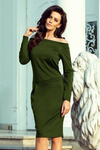 225-1 RAYA Dress with bare shoulders - khaki