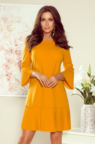 228-7 LUCY - pleated comfortable dress - mustard color
