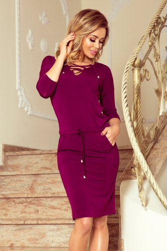 230-1 JANET Sports dress with binding - plum