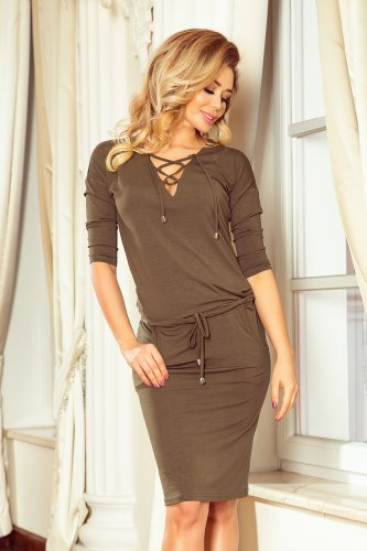 230-3 JANET Sports dress with binding - KHAKI