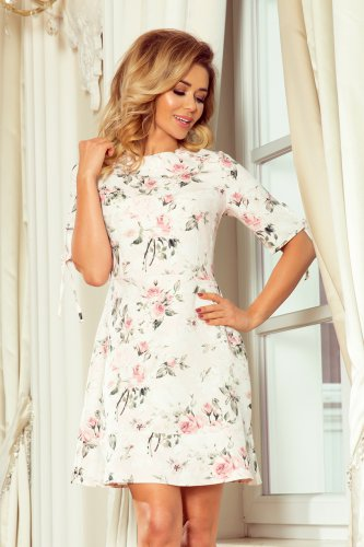 235-1 Dress with frills and binding on the sleeves - pastel flowers