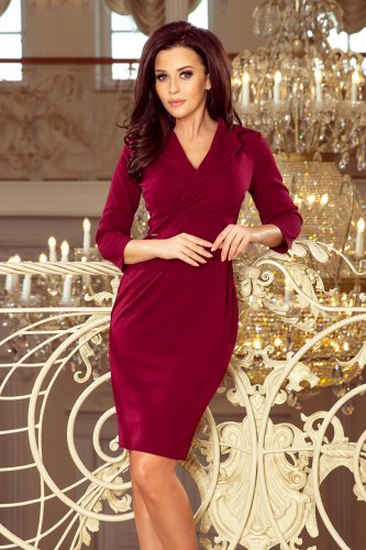 237-2 KELLY Elegant dress with a neckline - burgundy