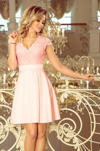 242-1 ANNA dress with neckline and lace - pastel pink