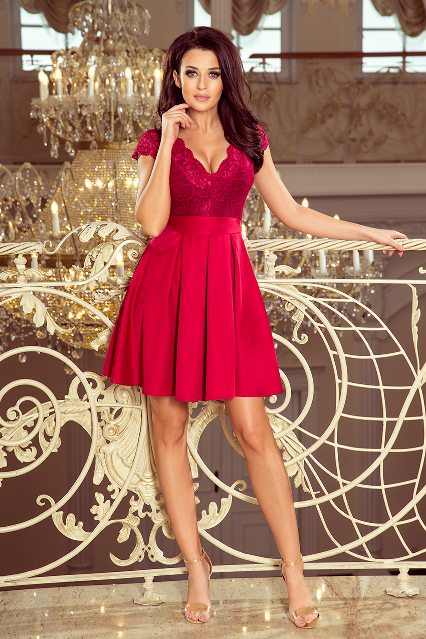 242-2 ANNA dress with neckline and lace - Burgundy color