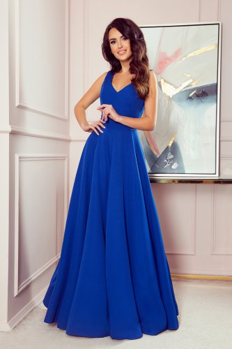 246-3 CINDY long dress with a neckline - classic blue