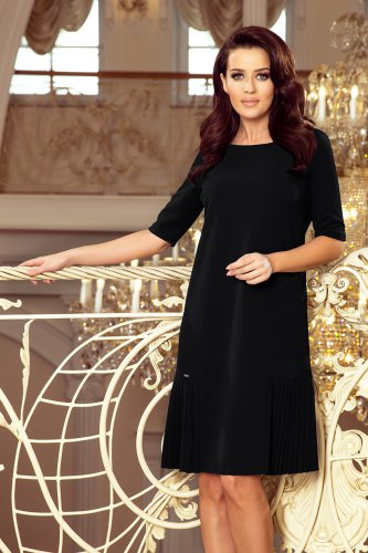 253-1 LIDIA Dress with pleats on the sides - black