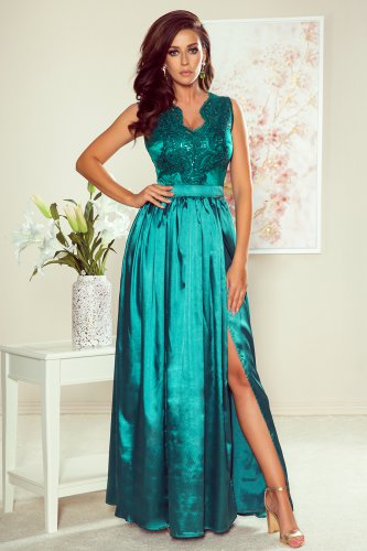 256-1 SALLY long dress with embroidered neckline - green