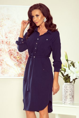 258-3 BROOKE Shirt dress - NAVY BLUE