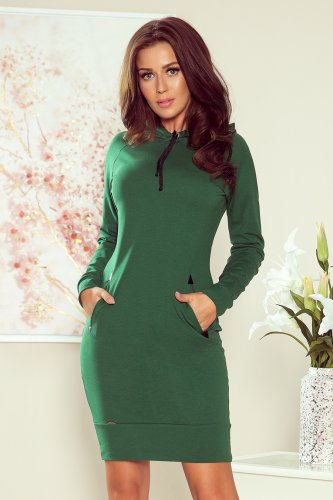 260-2 ELSA Green dress with a hood