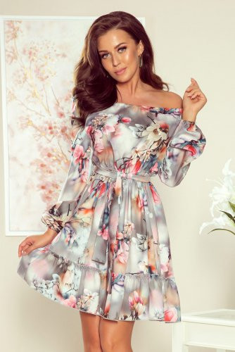 265-3 DAISY Dress with frills - flowers + grey