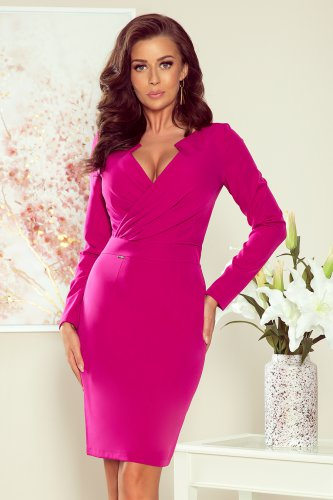 272-1 MIA Dress with a neckline - fuchsia
