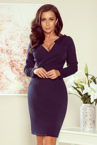 272-2 MIA Dress with a neckline - navy blue