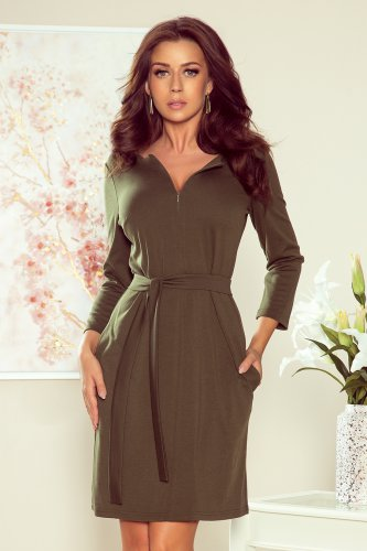 273-1 KAREN Dress with a zipper - khaki