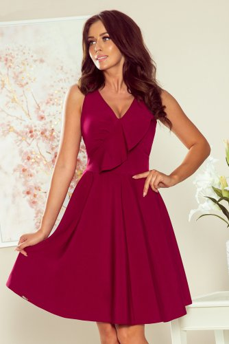 274-1 ANITA Frill dress - burgundy