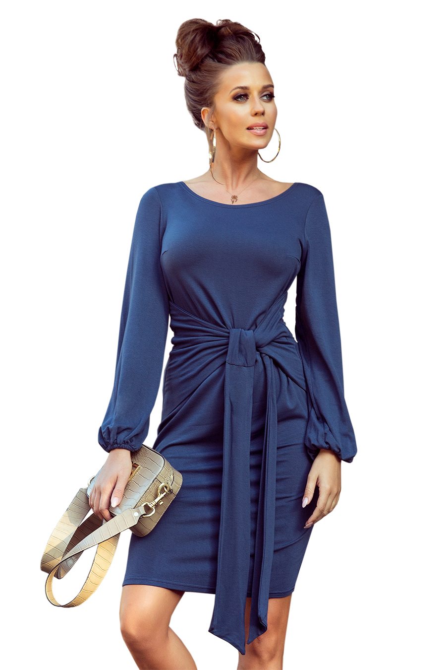 275-2 JENNY Comfortable dress with binding at the waist - JEANS