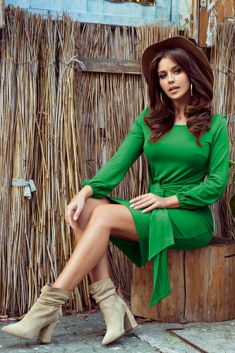 275-4 JENNY Comfortable dress with binding at the waist - green