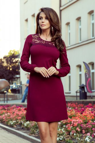 291-1 MOIRA Trapezoidal dress with lace - burgundy